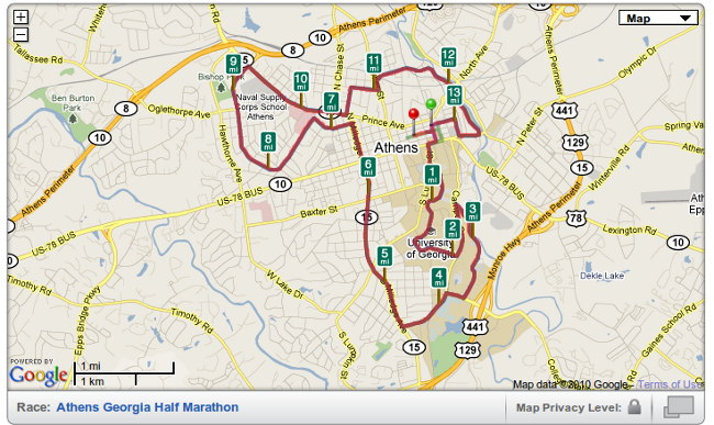 Athens GA Half Marathon - Map of Course